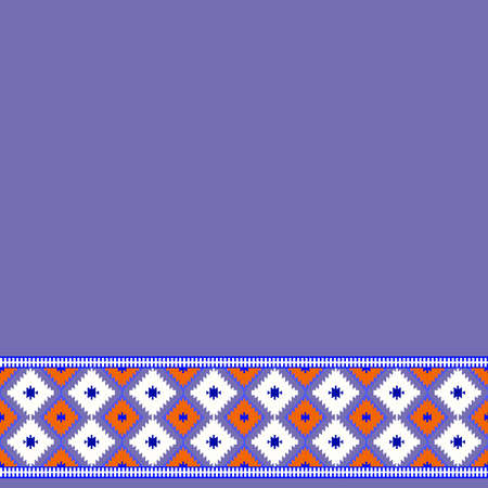 Card pattern in tribal style Turkish carpet purple, lilac red claret burgundy. Colorful patchwork mosaic oriental kilim rug with traditional folk geometric ornament. Vector illustration