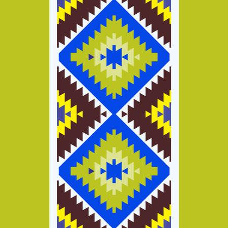 Seamless pattern Turkish carpet brown yellow blue green. Patchwork mosaic oriental kilim rug with traditional folk geometric ornament. Tribal style. Vector illustration Stock Illustratie
