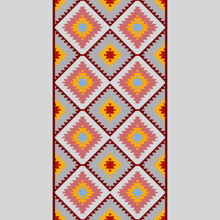 Seamless pattern Turkish carpet blue gray pink orange. Patchwork mosaic oriental kilim rug with traditional folk geometric ornament. Tribal style. Vector illustration
