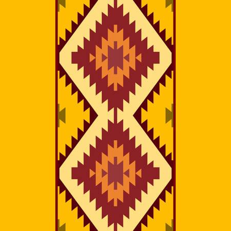 Seamless pattern Turkish carpet yellow beige orange brown. Patchwork mosaic oriental kilim rug with traditional folk geometric ornament. Tribal style. Vector illustration