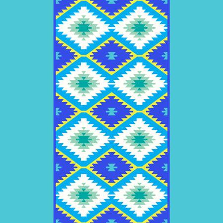 Seamless pattern Turkish carpet yellow blue green. Patchwork mosaic oriental kilim rug with traditional folk geometric ornament. Tribal style. Vector illustration