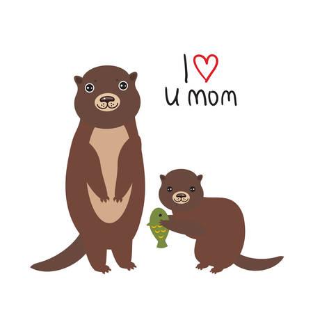 Je t'aime maman. Drôles de loutres d'enfants bruns avec des poissons sur fond blanc. Excellente carte-cadeau pour la fête des mères. Merci maman. Impression de voeux kawaii. Illustration vectorielle
