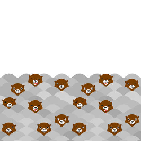 Funny brown otters on gray waves. Card banner, white pattern background. Kawaii. Vector illustration Illustration