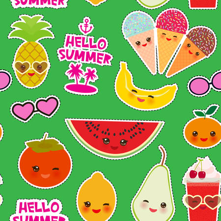 Hello Summer bright tropical seamless pattern, fashion patches badges stickers. Persimmon, pear, pineapple, cherry smoothie cup, ice cream cone, sunglasses. Kawaii cute face. Green background. Vector illustration