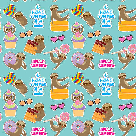 Hello Summer bright tropical seamless pattern, fashion patches badges stickers. Kawaii cute face sloth collection with cake pops, donut, lollipop, waffle, macaroon on blue background. Vector illustration