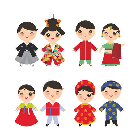 Indian Japanese Koreans Vietnamese Kawaii boy and girl in national costume. Cartoon children in traditional dress isolated on white background. Vector illustration