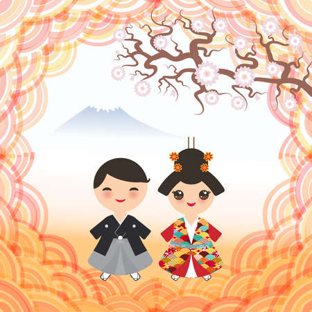 Mount, mountain landscape, Japanese boy and girl in national costume. kimono, Cartoon children in traditional dress. sakura flowers, round pink frame, abstract trend dawn, card banner design. Vector illustration