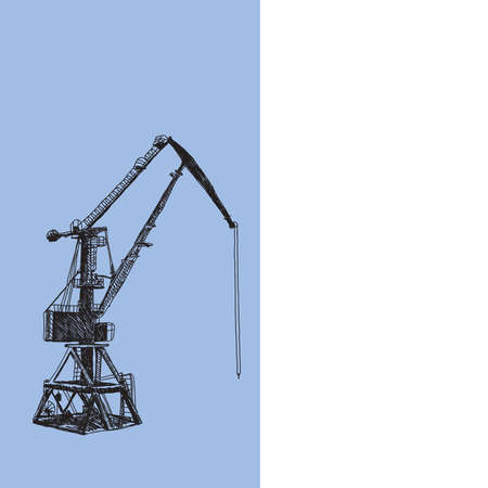 Port crane machinery Building Tower construction. Hand drawn sketch illustration. Black silhouette on white blue backgraund. Applicable for Placards Banners Posters Flyers. Vector illustration Banque d'images - 110748158
