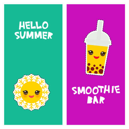 Hello Summer bright tropical card banner design, fashion patches badges stickers. bubble tea, sun. Kawaii cute face. Applicable for Banners, Flyers. Vector illustration