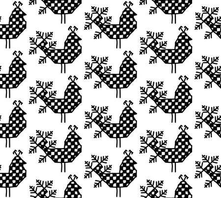 Seamless pattern bird of peacock Ornament of Russian folk embroidery, black contour isolated on white background. Can be used for fabrics, wallpapers, websites. Vector illustration