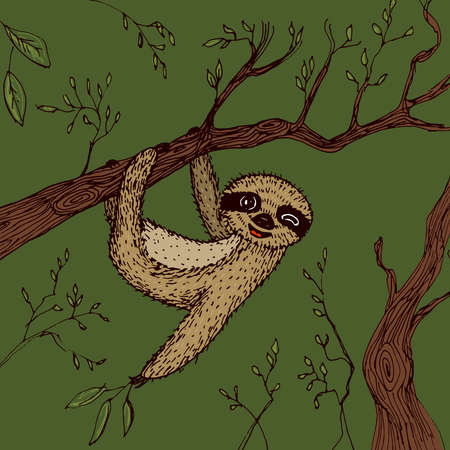 funny and cute smiling Three-toed sloth wink on branch brown green beige color background. sketch, drawing by hand. Vector illustration