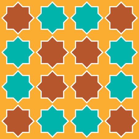 Moroccan seamless pattern, Morocco. Patchwork mosaic with traditional folk geometric ornament orange blue brown. Tribal oriental style. Vector illustration 向量圖像