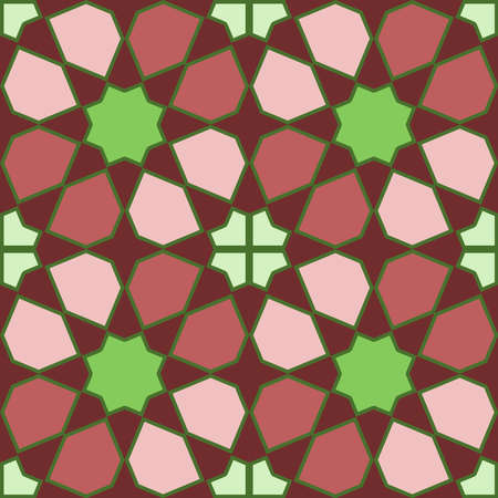 Moroccan seamless pattern, Morocco. Patchwork mosaic traditional folk geometric ornament brown burgundy pink green. Tribal oriental style. Can be used for fabrics, wallpapers, websites. Vector illustration 向量圖像