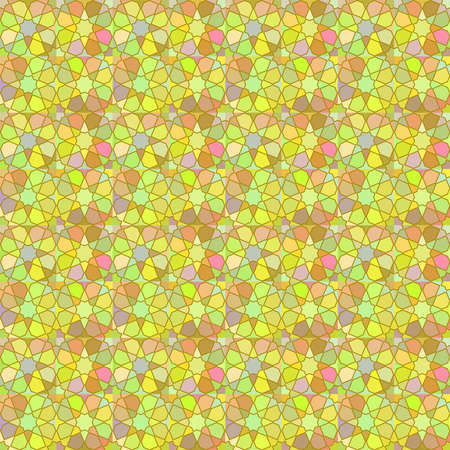 Moroccan seamless pattern, Morocco. Patchwork mosaic with traditional folk geometric ornament green pink beige yellow. Tribal oriental style. Can be used for fabrics, wallpapers, websites. Vector illustration