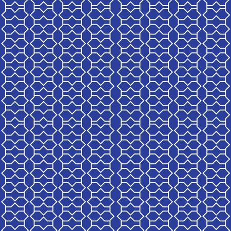 Moroccan seamless pattern, Morocco. Patchwork mosaic traditional folk geometric ornament navy blue cobalt white. Tribal oriental style. Can be used for fabrics, wallpapers. Vector illustration