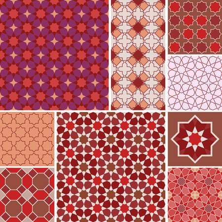 Moroccan collection seamless pattern, Morocco. Patchwork mosaic traditional folk geometric ornament red pink brown claret. Tribal oriental style. Can be used for fabrics, wallpapers. Vector illustration