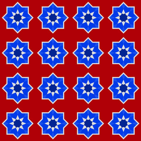 Moroccan seamless pattern, Morocco. Patchwork mosaic traditional folk geometric ornament burgundy navy blue cobalt red white. Tribal oriental style. Can be used for fabrics, wallpapers. Vector illustration