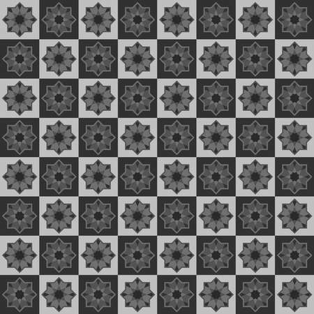 Moroccan seamless pattern, Morocco. Patchwork mosaic traditional folk geometric ornament black grey white. Tribal oriental style. Can be used for fabrics, wallpapers, websites. Vector illustration  イラスト・ベクター素材