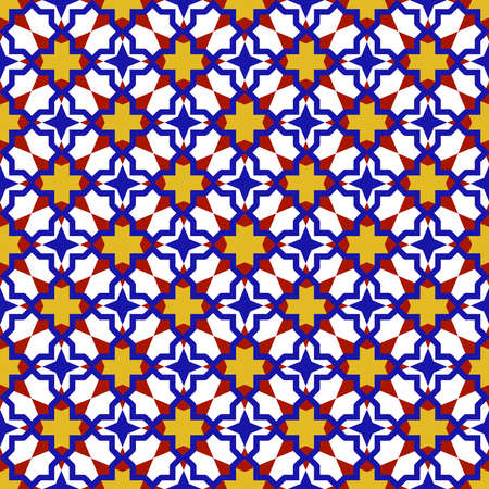 Moroccan seamless pattern, Morocco. Patchwork mosaic traditional folk geometric ornament burgundy yellow blue red white. Tribal oriental style. Can be used for fabrics, wallpapers, websites. Vector illustration