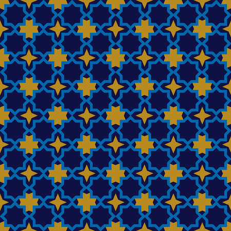 Moroccan seamless pattern, Morocco. Patchwork mosaic with traditional folk geometric ornament orange blue gold. Tribal oriental style. Vector illustration Illustration