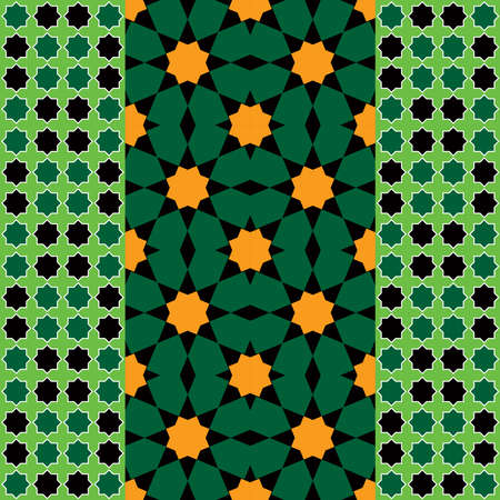 Moroccan seamless pattern, Morocco. Patchwork mosaic traditional folk geometric ornament black green orange. Tribal oriental style. Can be used for fabrics, wallpapers, websites. Vector illustration