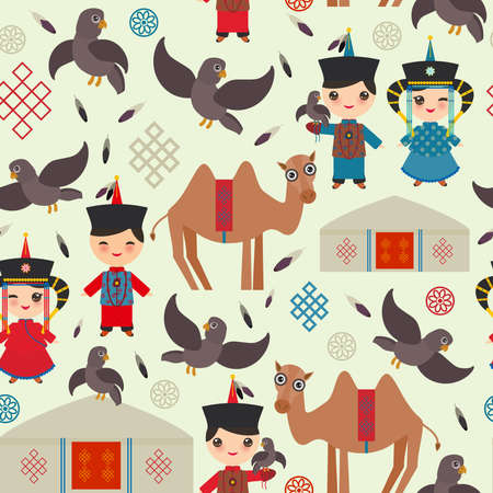 Seamless pattern Mongolian boy and girl national costume. Cartoon children in traditional dress. Hunter, hunting with an eagle, camel, traditional dwellings, such as the yurt and the tent. Vector illustration