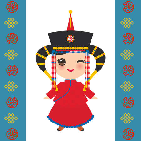 Mongolian girl in national costume and hat. Cartoon children in traditional dress on white background. Card banner template, blue Mongolian ornament. Vector illustration Illustration