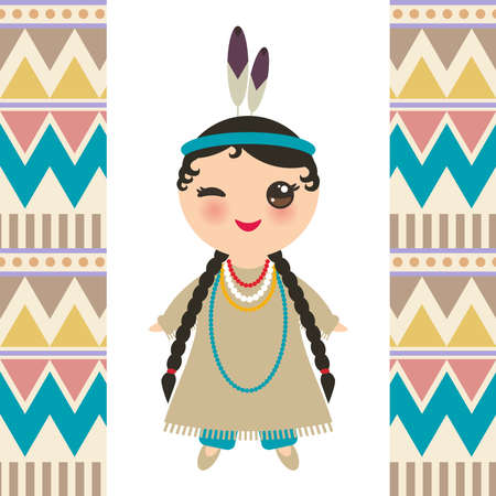 American indians Kawaii girl in national costume. Cartoon children in traditional dress Indigenous peoples of the Americas. Triangle and line tribal Navajo pattern. Vector illustration