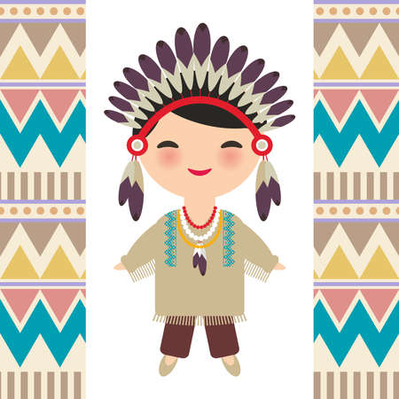 American indians Kawaii boy in national costume. Cartoon children in traditional dress Indigenous peoples of the Americas. Triangle and line tribal Navajo pattern. Vector illustration Illustration