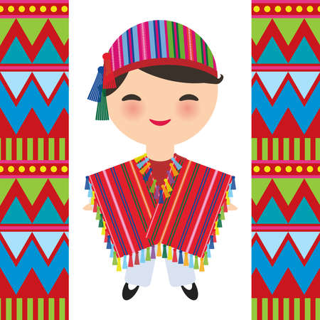 Peruvian boy in national costume and hat. Cartoon children in traditional dress Indigenous peoples of the Americas. Triangle and line tribal pattern. Vector illustration