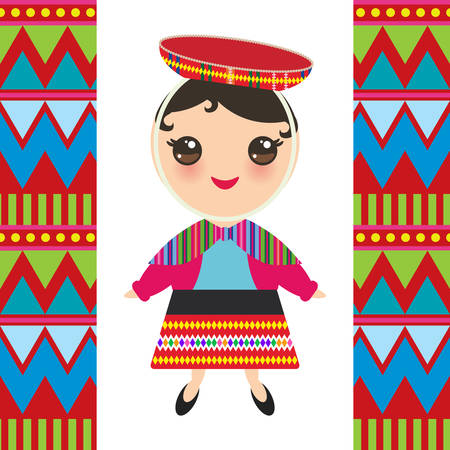 Peruvian girl in national costume and hat. Cartoon children in traditional dress Indigenous peoples of the Americas. Triangle and line tribal pattern. Vector illustration  イラスト・ベクター素材