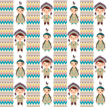 American indians Kawaii boy and girl in national costume. Cartoon children in traditional dress Indigenous peoples of the Americas Triangle and line tribal Navajo seamless pattern. Vector illustration Illustration