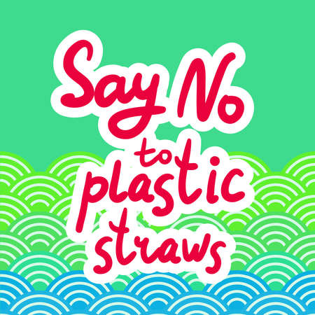 Say no to plastic straws. Red text, calligraphy, lettering, doodle by hand. Abstract sea ocean scales background with circle pattern. Pollution problem concept Eco, ecology banner poster. Vector illustration
