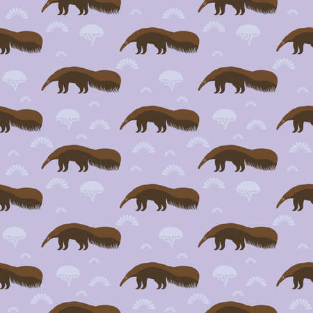 Funny brown giant anteater, ant bear, ant-eater, ant-bear. large insectivorous mammal native to Central and South America. Seamless pattern with cute animal on a lilac background. Vector illustration