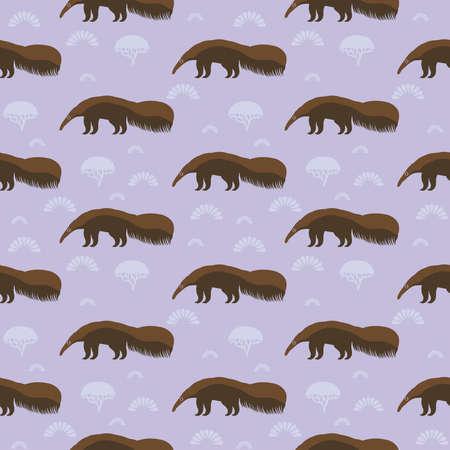 Oso hormiguero gigante marrón divertido, oso hormiguero, hormiguero, oso hormiguero. gran mamífero insectívoro nativo de América Central y del Sur. Patrón sin fisuras con lindo animal sobre un fondo lila. Ilustración vectorial