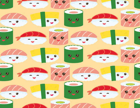 seamless pattern Kawaii funny sushi rolls set with pink cheeks and big eyes, emoji Baby japanese background on Orange. Vector illustration