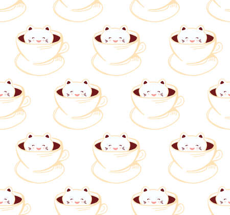 Seamless pattern Cute Kawai cat in cup of froth art coffee, isolated on white background. Latte Art 3D. milk foam top on the cup of hot chocolate. Doodle sketch. Vector illustration