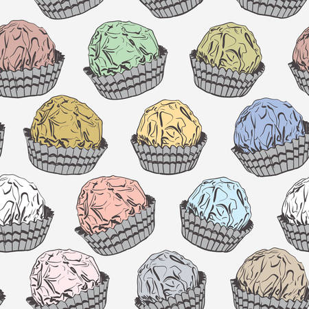 Seamless pattern Candy chocolate truffles in foil and paper cup. Drawing by hand sketch doodles. Gray yellow pink blue green brown. Vector illustration