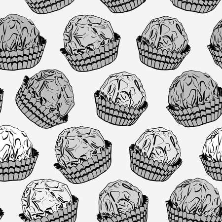 Seamless pattern Candy chocolate truffles in foil and paper cup. Drawing by hand sketch doodles. Gray black white. Vector illustration