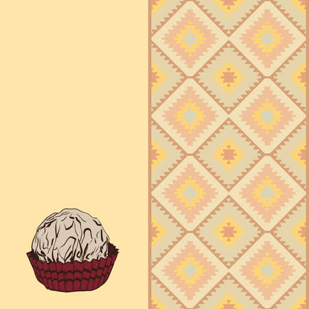 Candy chocolate truffles in foil and paper cup. Drawing by hand sketch doodles. Turkish carpet Gray yellow beige orange brown Patchwork mosaic oriental kilim rug. Vector illustration Illustration
