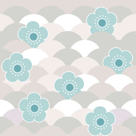seamless pattern blue flowers japanese cherry blossoms on gray beige white background. Asian simple ornament, oriental style scales, japanese circle. Can be used for fabrics, wallpapers. Vector illustration