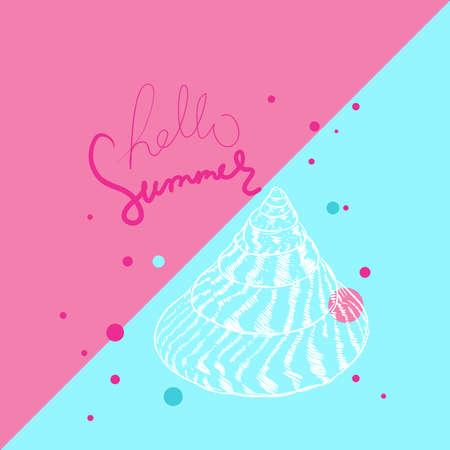 Hello summer card banner. Unique museum sea shell sea snail. Sketch contour on pink blue background. Vector illustration Ilustração