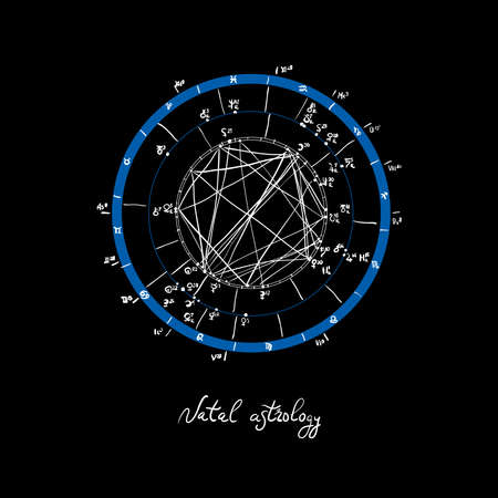 Horoscope natal chart, astrological celestial map, cosmogram, vitasphere, radix. Blue white black color. Hand drawn calligraphy. Vector illustration