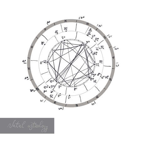 Horoscope natal chart, astrological celestial map, cosmogram, vitasphere, radix. white black color. Hand drawn calligraphy. Vector illustration Illusztráció
