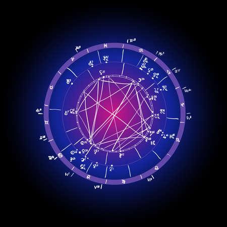 Horoscope natal chart, astrological celestial map, cosmogram, vitasphere, radix. Blue white pink black color. Hand drawn calligraphy. Vector illustration