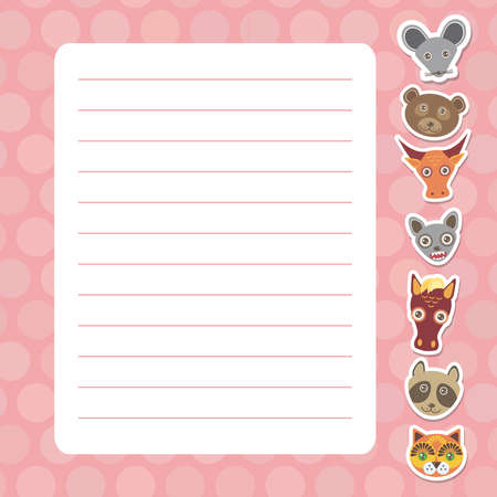 Card design with Kawaii mouse bear bull bat horse raccoon cat, pink pastel colors polka dot lined page notebook, template, blank, planner background. Vector illustration