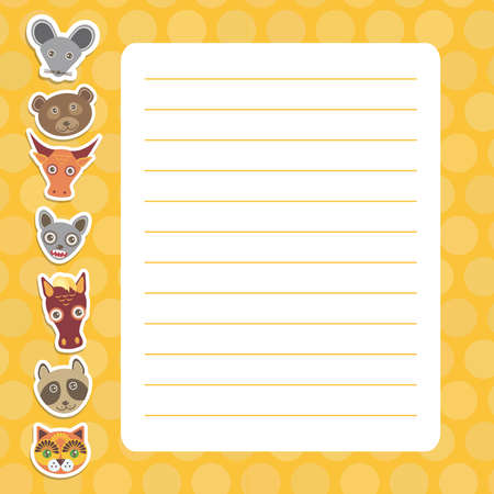 Card design with Kawaii mouse bear bull bat horse raccoon cat, orange pastel colors polka dot lined page notebook, template, blank, planner background. Vector illustration