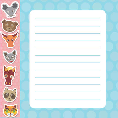 Card design with Kawaii mouse bear bull bat horse raccoon cat, blue pastel colors polka dot lined page notebook, template, blank, planner background. Vector illustration
