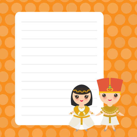 Card design with Kawaii Ancient Egypt boy and girl in national costume and hat. Cartoon children in traditional dress. orange polka dot lined page notebook, template, blank planner background. Vector illustration