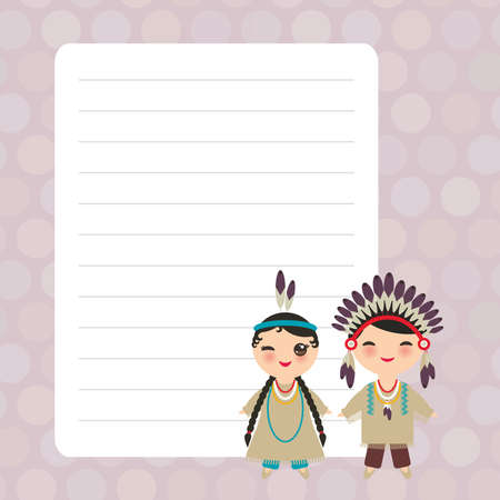 American indians boy and girl in national costume and hat. Cartoon children Card design with Kawaii with violet pastel colors polka dot lined page notebook, template, blank, planner background. Vector illustration